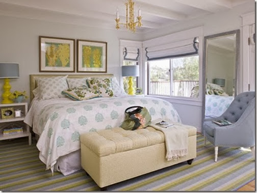 Bedroom Modern Traditional Blue Yellow White Tan Seafoam Green Tufted Ottoman Bench Foot Of Bed Coastal Living Patterned
