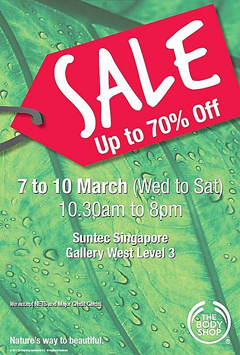 The Body Shop SALE Singapore Warehouse Skincare cosmetics bodycare haircare Suntec City Convention Centre Gallery West