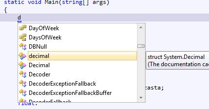 Intelisense w Visual Studio 2010