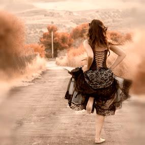 Race to freedom by Alessandra  Romano  - People Portraits of Women ( girl, freedom, autumn, woman, dark, fairy, race, black )