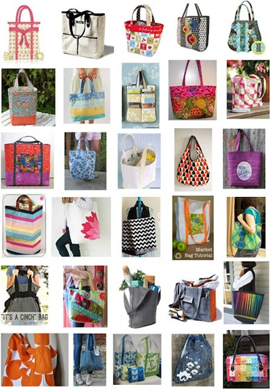 Free tote bag patterns Aug 2012 at quiltinspiration.blogspot.com