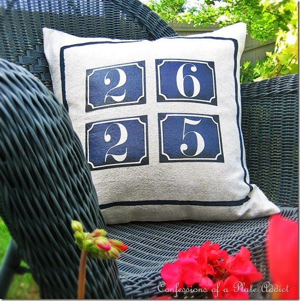 CONFESSIONS OF A PLATE ADDICT Vintage French House Number Pillow