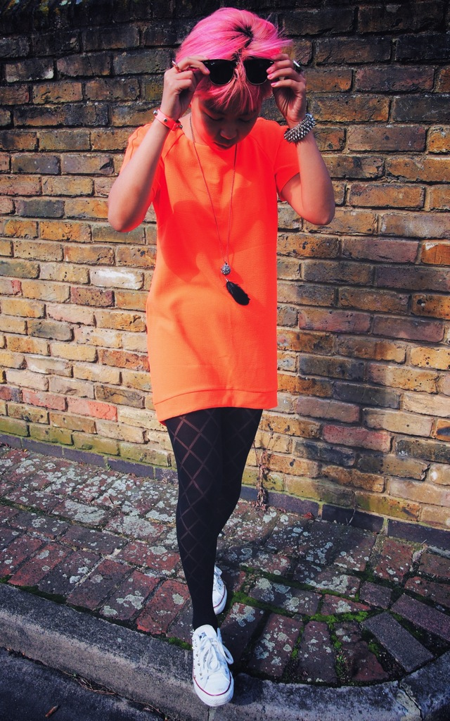 orange topshop dress