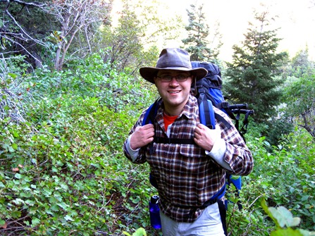 Taylor backpacking in Big Cottonwood Canyon