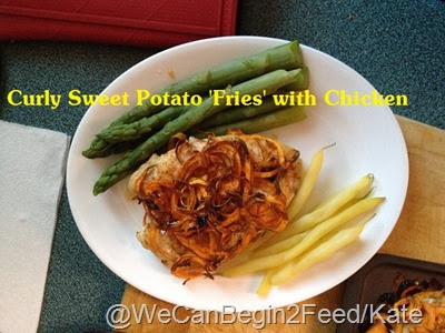 Curly Baked Sweet Potato 'Fries' with Chicken