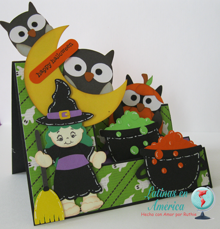Brewing Beauties - Kadoodlebug Designs - Halloween Card - Step side card - Latinas en America - Ruthie Lopez DT 3