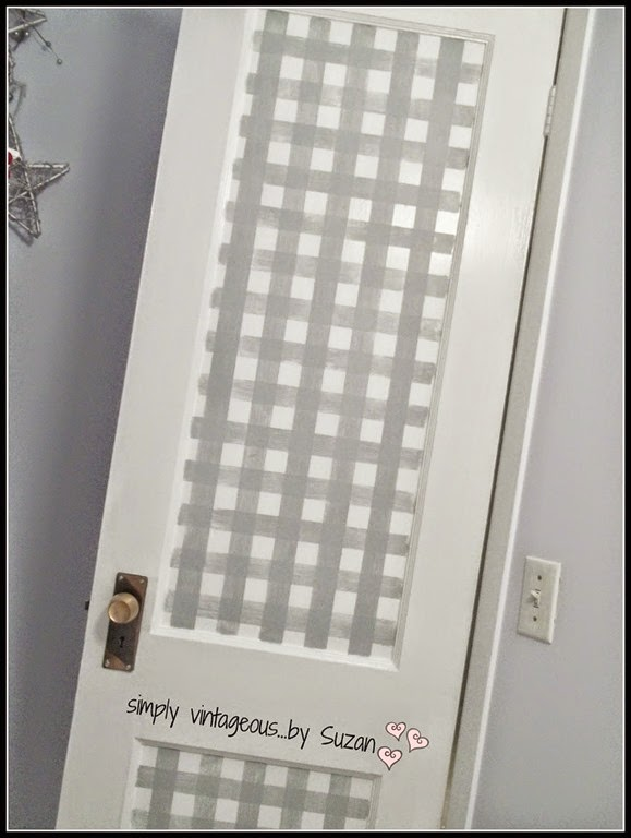 painting gingham on a door