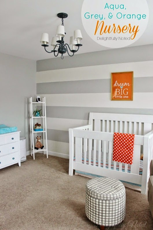 Aqua, Grey, Orange Nursery