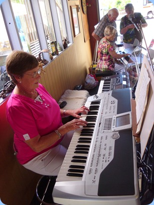 Pam Rea enjoying Peter Littlejohn's Korg Pa1X