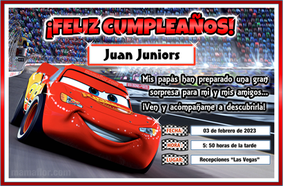 Tarjeta De Cumpleaños De Cars Para Imprimir Invitaciones