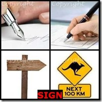 SIGN- 4 Pics 1 Word Answers 3 Letters