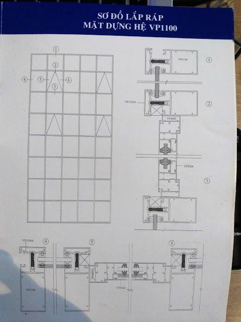 Sơ đồ lắp đặt mặt dựng nhôm Việt Pháp hệ 1100
