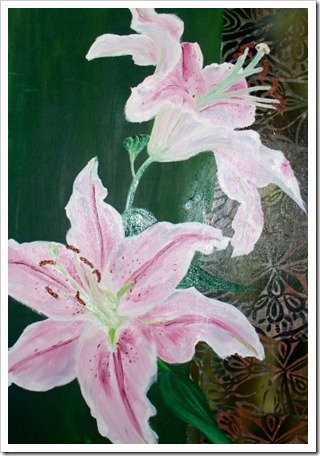 pink  lilies on green