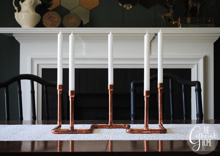 diy copper pipe candelabra