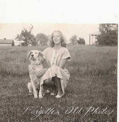 Golden Retriever and a gal DL Antiques