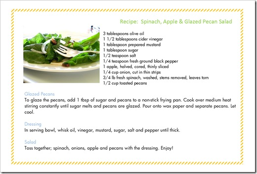 Recipe Card Spinach Salad