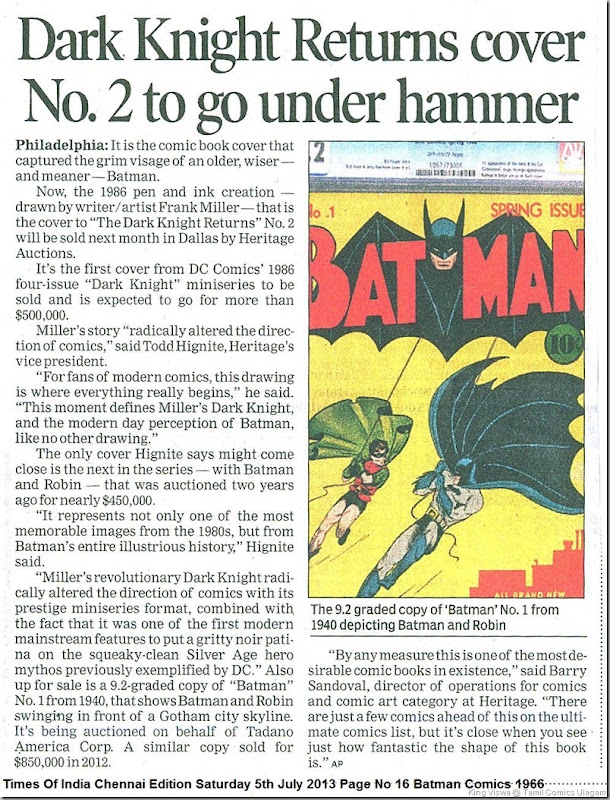 Times Of India Chennai Edition Saturday 5th July 2013 Page No 16 Batman Comics 1966