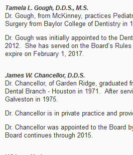 Texas State Board of Dental Examiners take swift action!