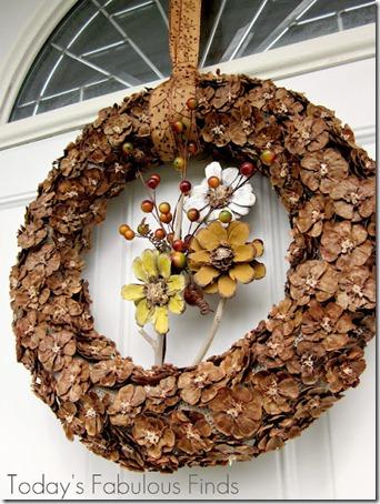 Fall Pine Cone Flower Wreath