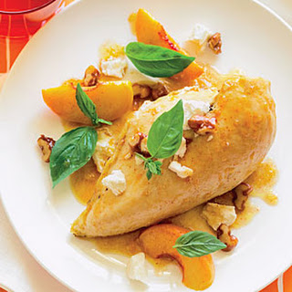 Rotisserie Chicken with Peaches, Walnuts, and Basil