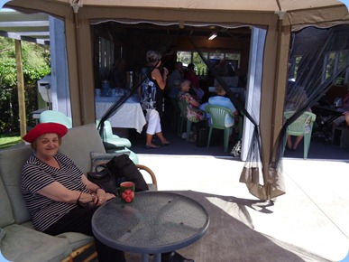 Jeanette Beamish enjoying some cool shade in the gazebo