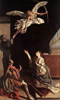 """Bức """"The Martyrs Valerian, Tiburzio and Cecilia"""" của họa sĩ Orazio Gentileschi vẽ năm 1620, mô tả cảnh Cecilia chứng minh cho chồng và em chồng thấy sự hiện diện của Thiên Thần."""