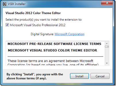 Install Visual studio Color editor for visual studio 2012