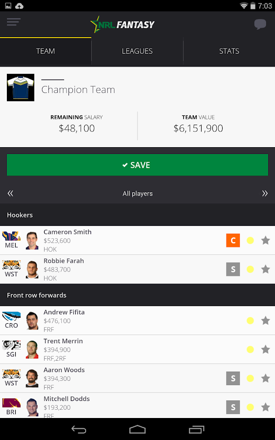 NRL Fantasy- screenshot