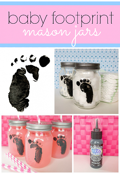 baby footprint mason jars using Americana 3D Opaque Gloss Enamels