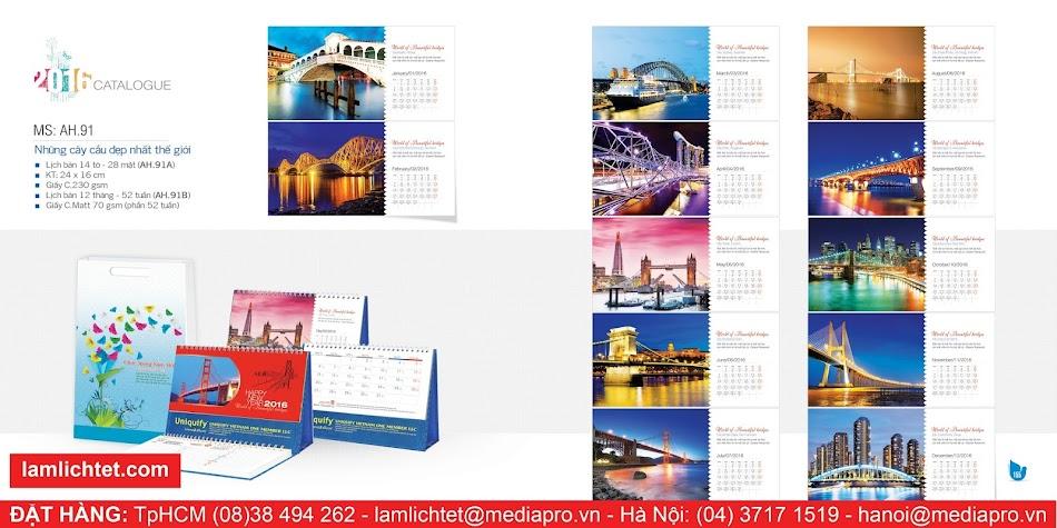 In Lịch Để Bàn Đẹp,TpHCM Hà Nội, Mẫu Lịch Bàn AH91 Những Cây Cầu Đẹp Nhất