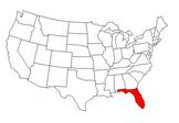 美国地图与佛罗里达突出显示