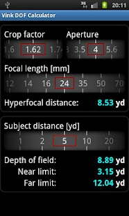 Vink DOF Calculator - screenshot thumbnail