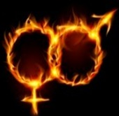 men, woman burning symbol