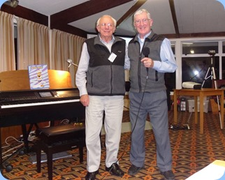 President to President! Gordon Sutherland (right) thanking Rob Powell for a fantastic concert. Photo courtesy of Peter Littlejohn.