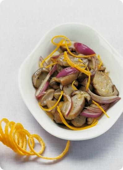 Insalata tiepida di porcini in salsetta al succo d'arancia