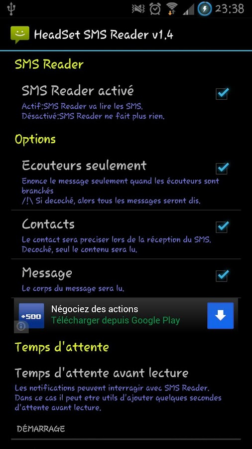 Headset SMS Reader - screenshot