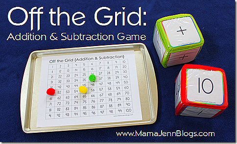 picture relating to Addition and Subtraction Games Printable titled Off the Grid Addition Subtraction Sport Mama Jenn