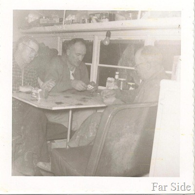Inside the Hunting Bus Ben Knapp and Marvin on the left Sam Worley on right