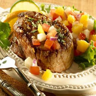 Mexican Seared Steaks With Jicama Salsa.