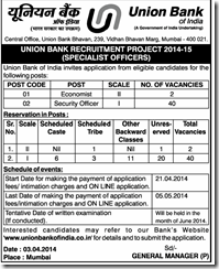 union bank of india peon recruitment 2014 form