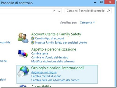 Aggiungi una lingua Windows 8