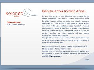 Une capture d'écran du site internet de Korongo Airlines