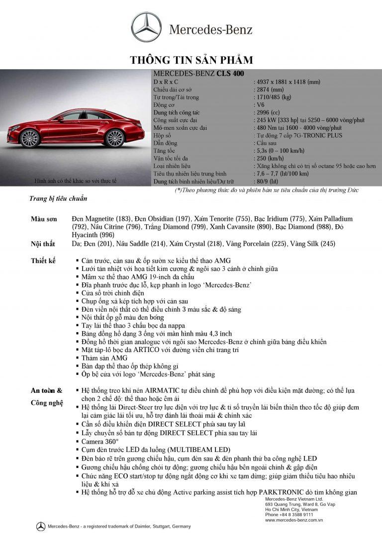 Thông số kỹ thuật xe Mercedes Benz CLS400 All New 1