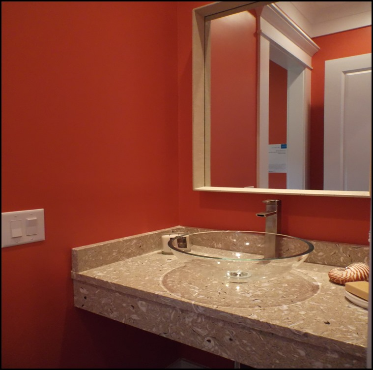 coral powder room sink