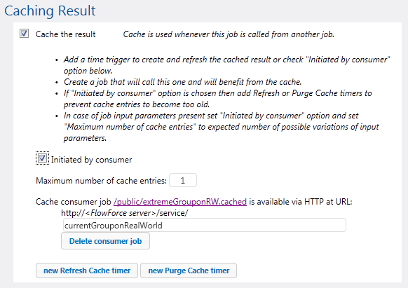 Job caching options on FlowForce Server