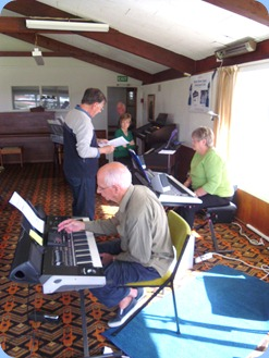 Practice session between 12 and 1 pm for the PumpHouse Concert on 17th May 2012. L to R: Len Hancy, Peter Jackson, Denise Gunson, Barbara McNab, and John Perkin. Brian Gunson on guitar is out of shot.