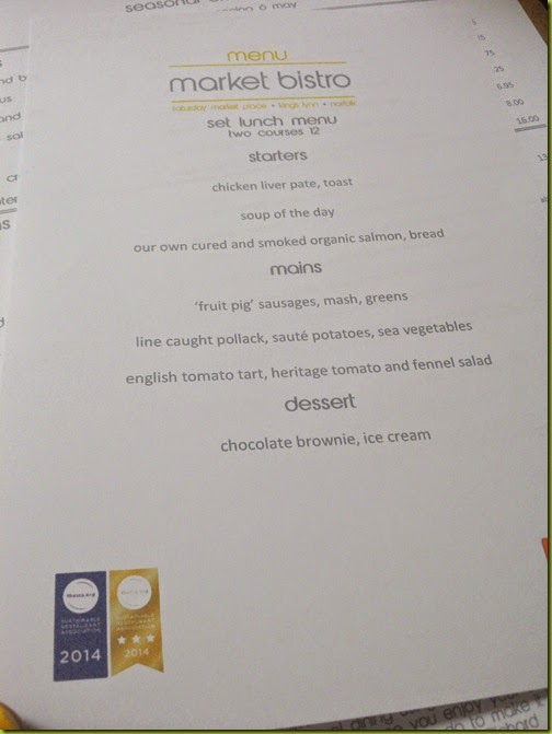 Market Bistro set menu