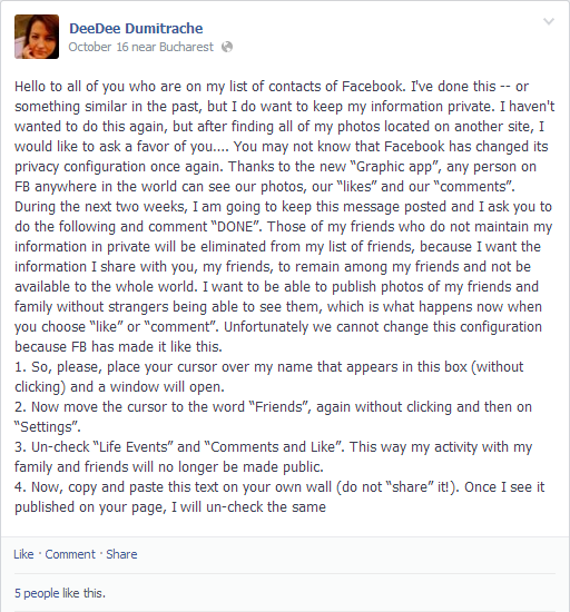 "Facebook privacy ""chain mail"""