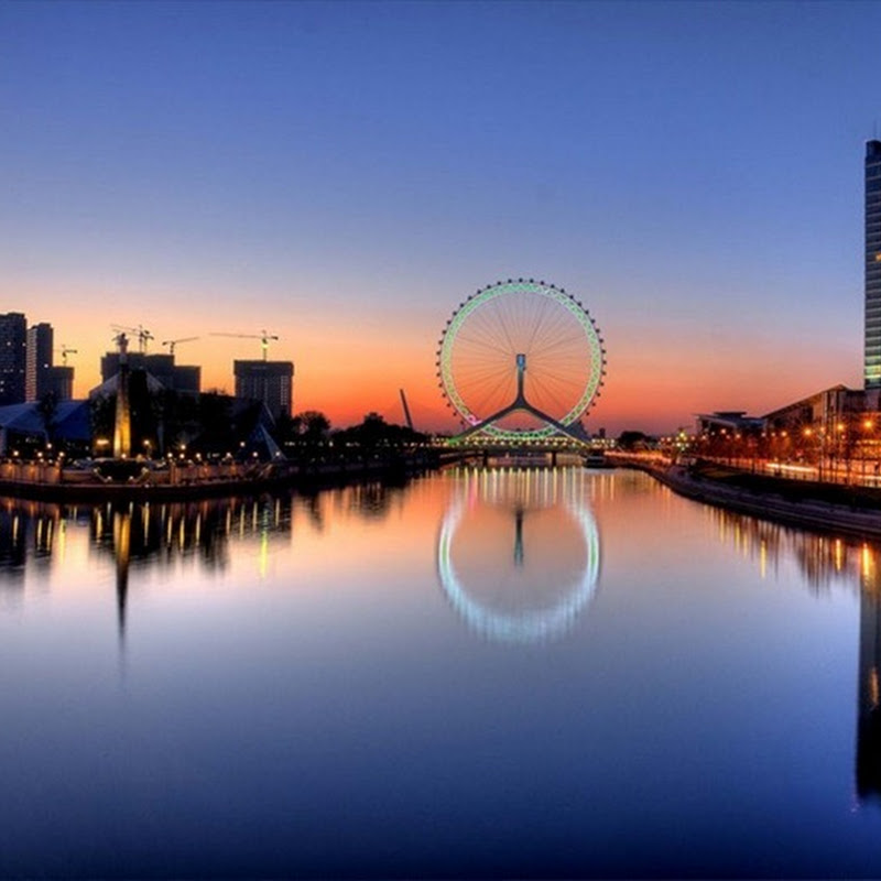Tianjin Eye: Gigantic Ferris Wheel on a Bridge