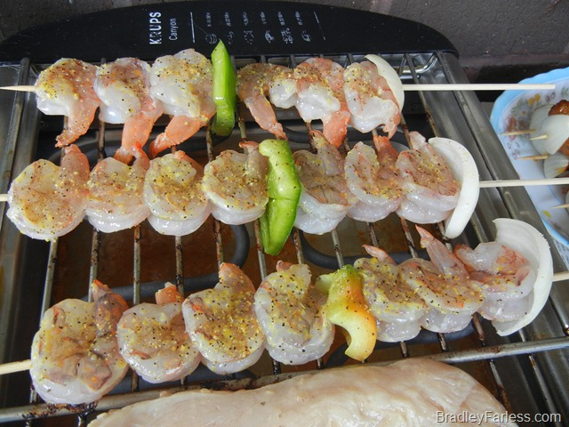 Shrimp kabobs.